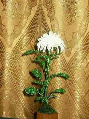 хризантема из бисера - О том, как плести бисером.